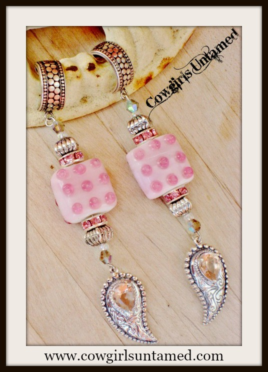 COWGIRL STYLE EARRINGS Sterling Silver & Pink Topaz Paisley Charm on Pink Crystal Rhinestone Beaded Sterling Silver Hoop Western Earrings