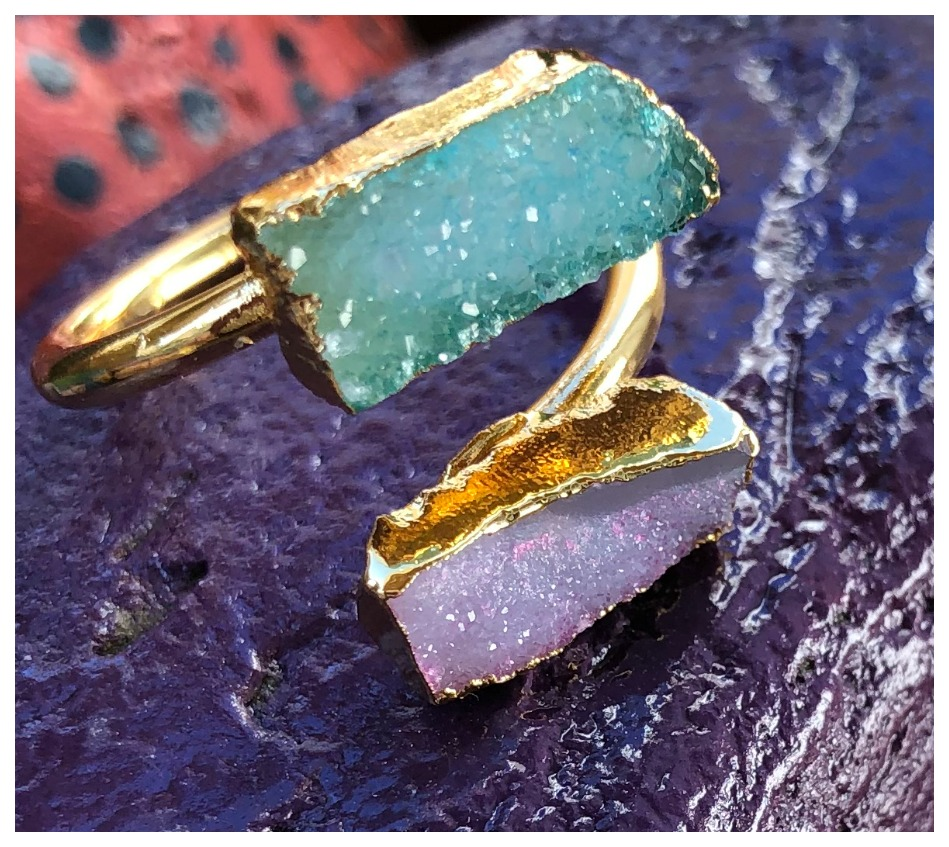 BOHEMIAN RING Genuine Double Lavender & Aqua Agate Druzy N Gold Plated Boho Ring