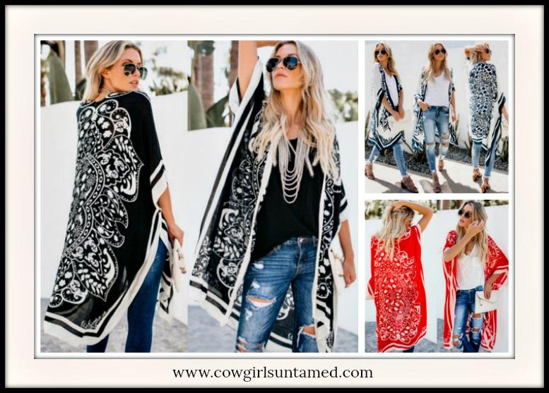 BOHEMIAN COWGIRL KIMONO Mandala Long Boho Kimono