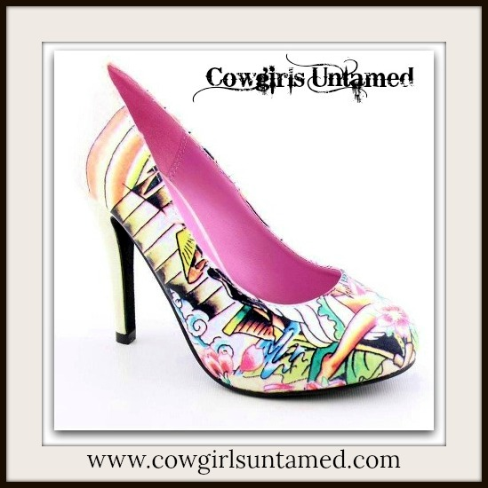 COWGIRL PINUP SHOES Off White Multi Color Tropical N Pinup Tattoo Designer Western Heels Shoes