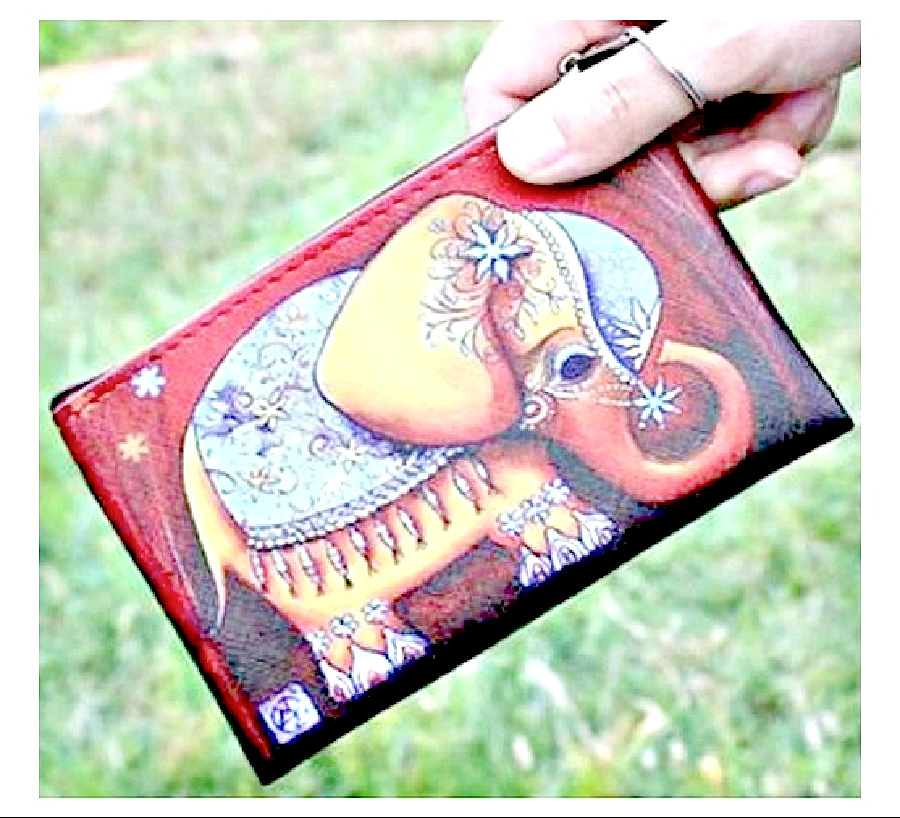BOHEMIAN COWGIRL BAG Elephant Graphic Coin Purse with Key Ring LAST ONE!