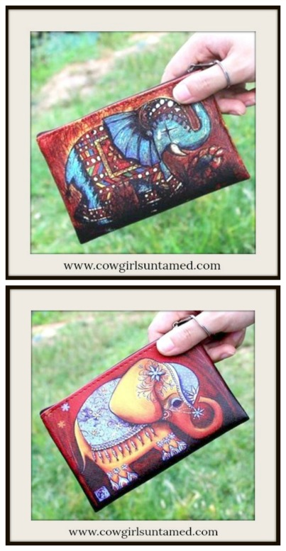 BOHEMIAN COWGIRL BAG Elephant Graphic Coin Purse with Key Ring  2 COLORS!