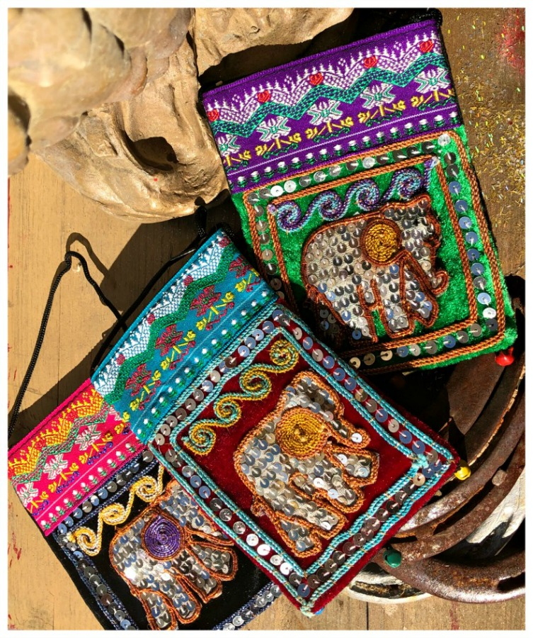THE ELEPHANT BAG Multi Color Embroidery Sequin Elephant Boho Messenger Bag  3 STYLES