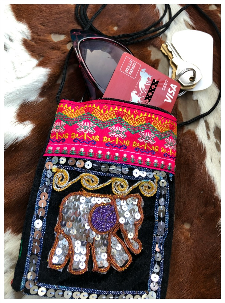 7in x 7in - Bedazzled Purse with Sequins- Multicolor- Made in Thailand- Gift for herhim Elephant Embroidered Crossbody Bag Medium Size