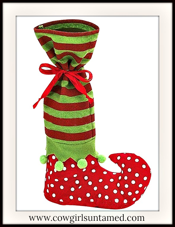 COWGIRL CHRISTMAS DECOR Red and Green Striped & Polka Dot Pom Pom Elf Christmas Wine Bottle Gift Bag Stocking