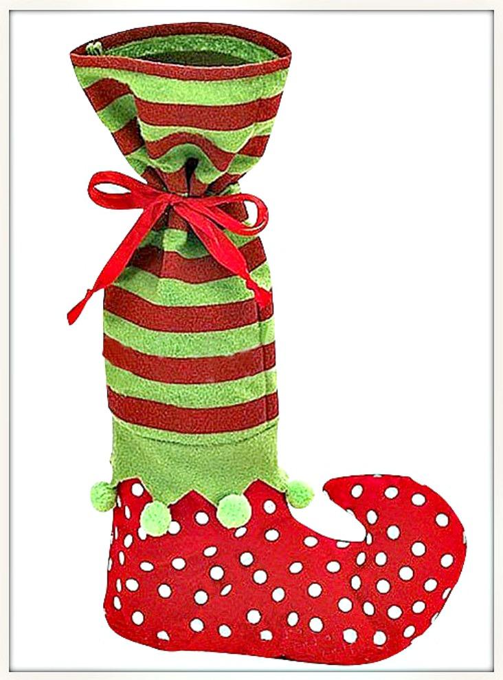 COWGIRL CHRISTMAS DECOR Red and Green Striped & Polka Dot Pom Pom Elf Christmas Wine Bottle Gift Bag Stocking