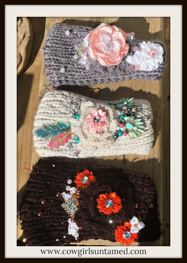COWGIRL GYPSY HEADBAND Jewel and Flower Embellished Knit Headband Ear Warmer