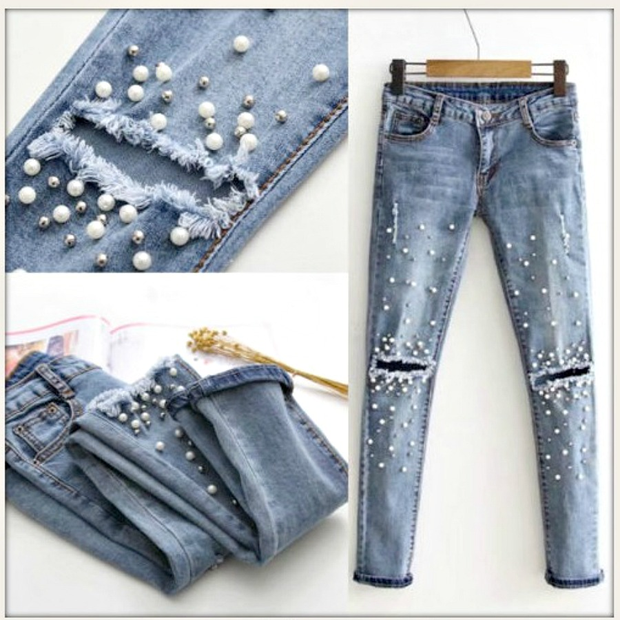 THE TENNESSEE JEAN Distressed Pearl Embellished Silver Studded Stretchy Skinny Jeans