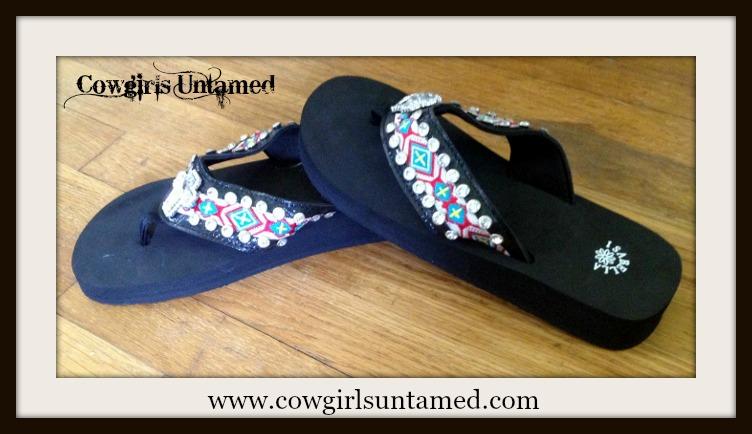COWGIRL GYPSY SHOES Rhinestone Cross Concho on Rhinestone Studded Aztec Embroidered Strap on Black Heel Flip Flops