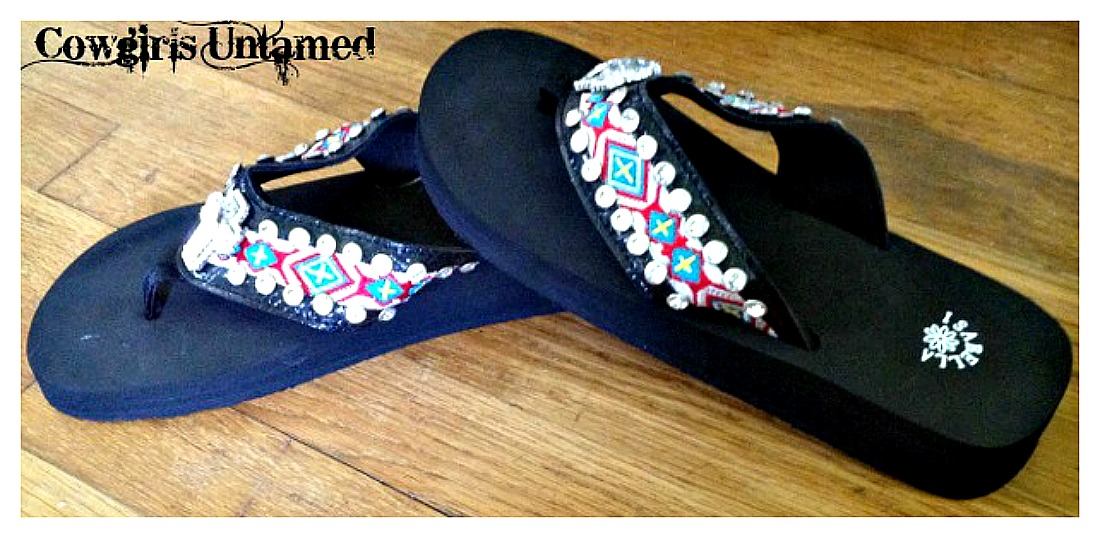 COWGIRL GYPSY SANDALS Rhinestone Cross Concho on Rhinestone Studded Aztec Embroidered Strap on Black Heel Flip Flops