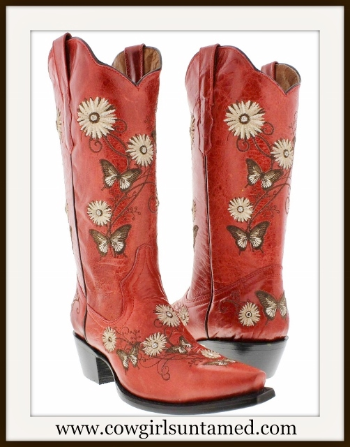 COWGIRL GYPSY BOOTS Tan N Brown Embroidered Daisy N' Butterflies Red Boots
