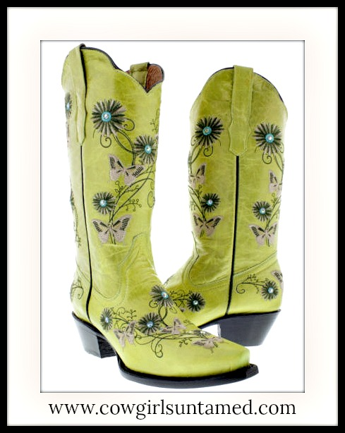 COWGIRL GYPSY BOOTS Rhinestone Studded Embroidered Beige n Brown Flower and Butterfly Green GENUINE LEATHER Boots