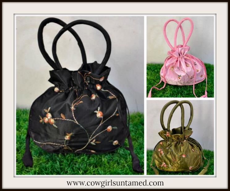 VINTAGE BOHEMIAN BAG Floral Embroidery Lined Satin Purse / Makeup Bag/ Jewelry Bag