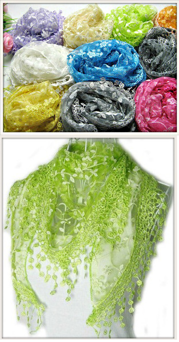 COWGIRL GYPSY SCARF Vintage Inspired Triangle Lace Fringe Scarf Shawl - MANY COLORS