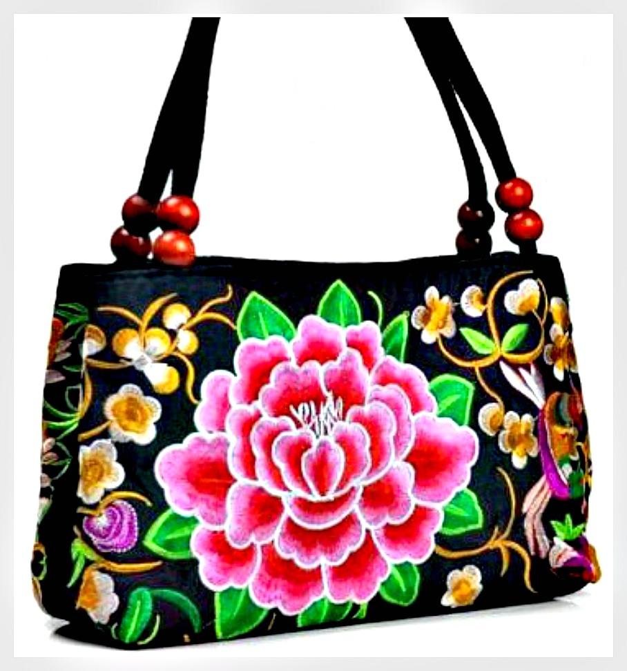 VINTAGE BOHEMIAN HANDBAG Pink Floral Embroidered Peony Black Canvas Medium Boho Handbag 1 LEFT!