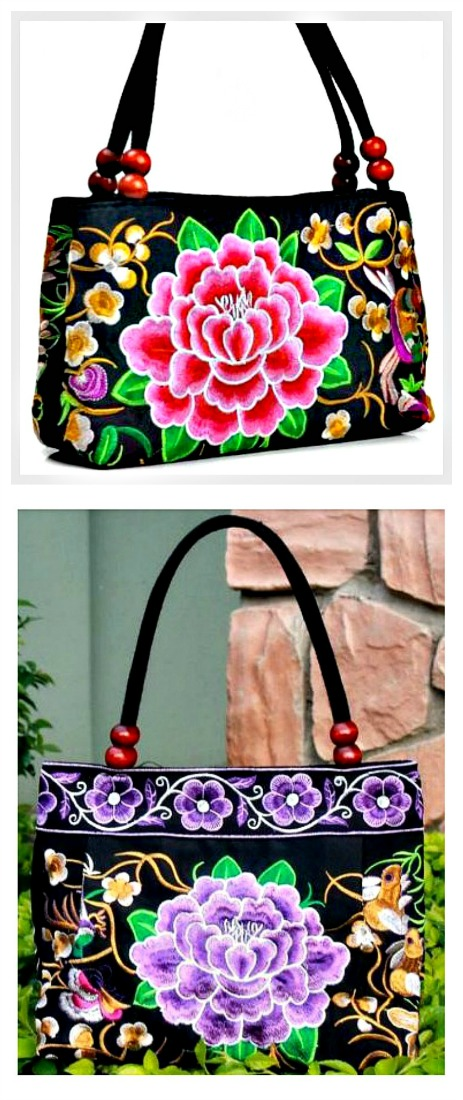 VINTAGE BOHEMIAN HANDBAG Floral Embroidered Peony Black Canvas Medium Boho Handbag 2 COLORS ONLY 1 EACH LEFT!