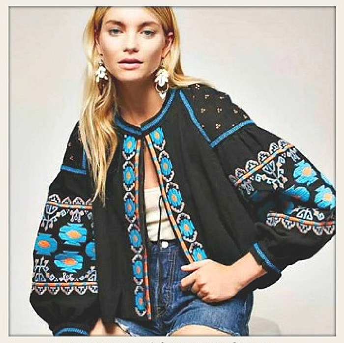 BOHEMIAN PRINCESS JACKET Turquoise Blue Orange Embroidered Geometric Pattern Oversized Cotton Open Front Lined Long Sleeve Black Boho Jacket ONLY 2 LEFT!
