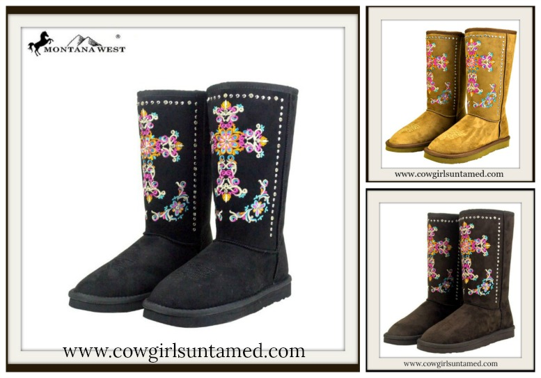 CHRISTIAN COWGIRL BOOTS Embroidered Cross on Fur Lined Winter Boots