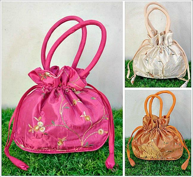 VINTAGE BOHEMIAN BAG Embroidered Floral Lined Satin Purse / Makeup Bag/ Jewelry Bag