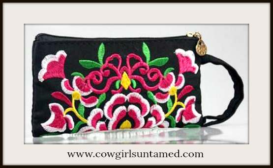 BOHEMIAN COWGIRL BAG Hot Pink Floral Embroidery on Black Zip Top Wristlet