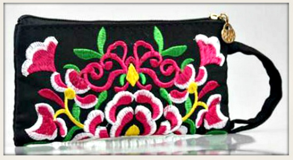 BOHEMIAN COWGIRL BAG Hot Pink Floral Embroidery on Black Zip Top Wristlet LAST ONE!