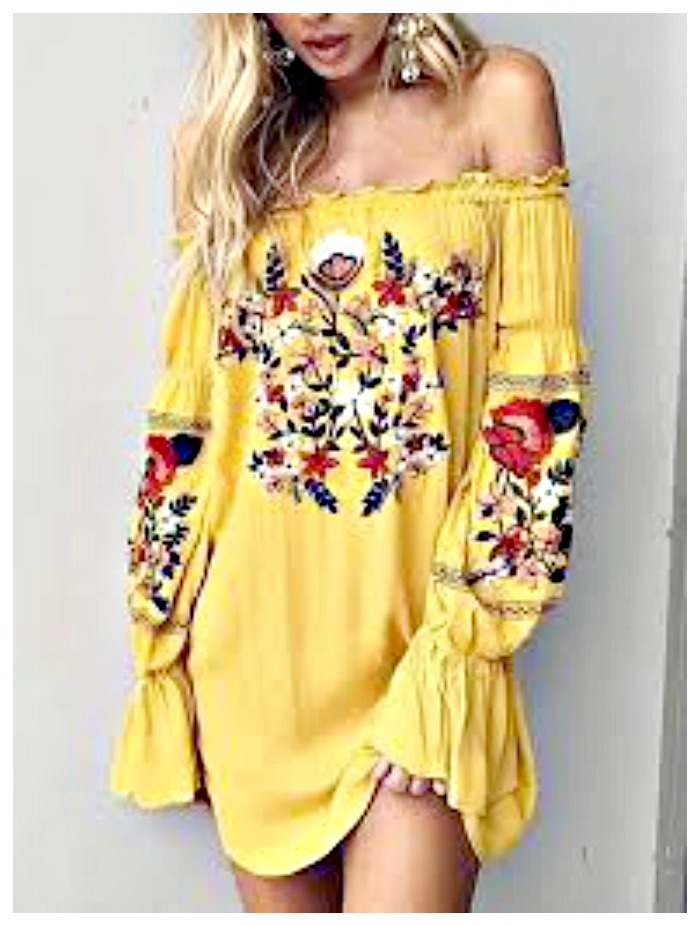 BOHEMIAN COWGIRL DRESS Multi Color Floral Embroidery Off The Shoulder Yellow Dress ONLY 2 LEFT!