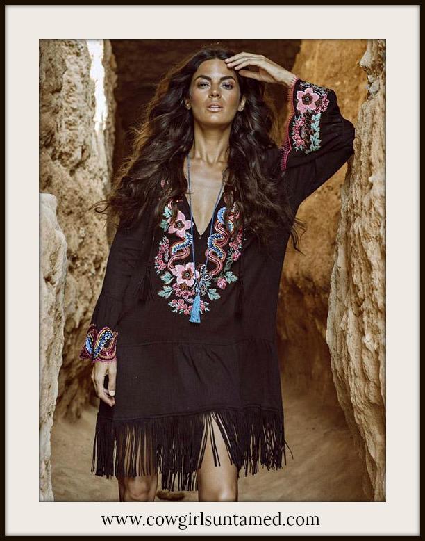 BOHEMIAN COWGIRL DRESS Embroidered Bell Sleeve Deep V Neck Fringe Mini Dress