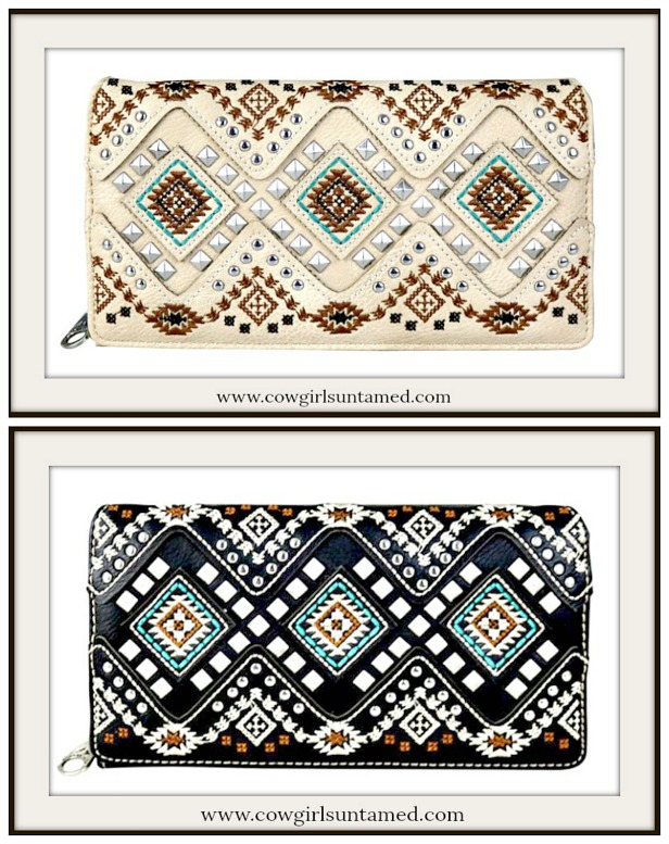 COWGIRL GYPSY WALLET Silver Studded Aztec Embroidered Wallet  2 COLORS!