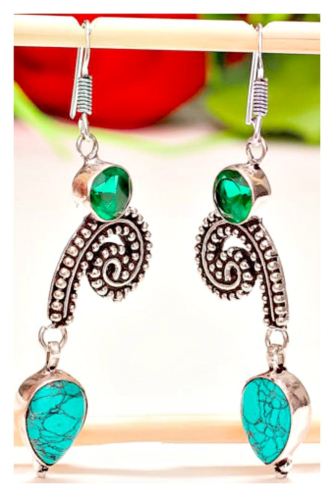 COWGIRL GYPSY EARRINGS Genuine Turquoise and Green Gemstone 925SS Earrings