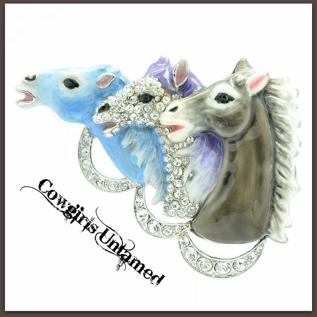 "HORSE LOVIN' COWGIRL BROOCH PIN ""DERBY DAY"" Pastel Enamel Horse Heads with Swarovski Crystals Brooch Pin"
