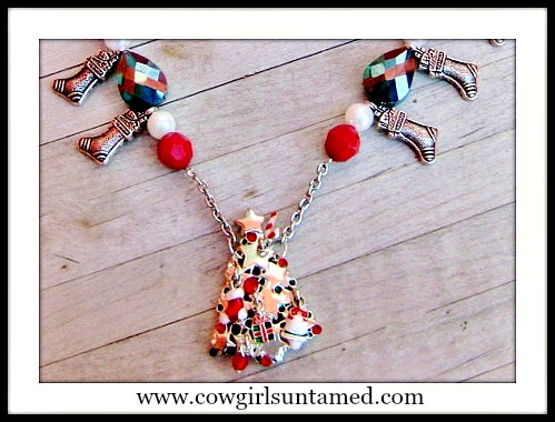 COWGIRL CHRISTMAS NECKLACE Tree Pendant Stocking Charms Crystal Pearl Chunky Beaded Necklace