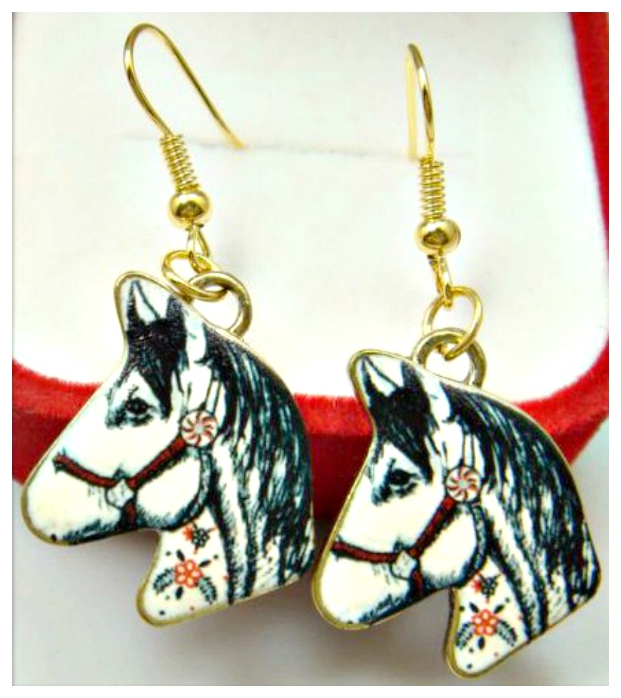 HORSE LOVIN' COWGIRL EARRINGS Enamel Horse Head Golden Dangle Earring