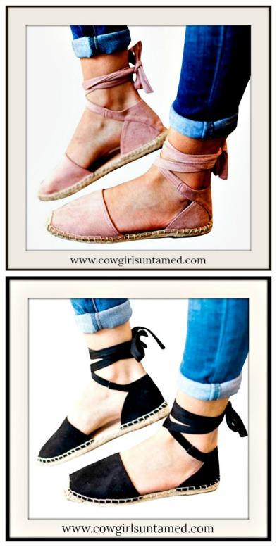 CLOSET CANDY SANDALS Black Wrap Up Boho Espadrille Sandals