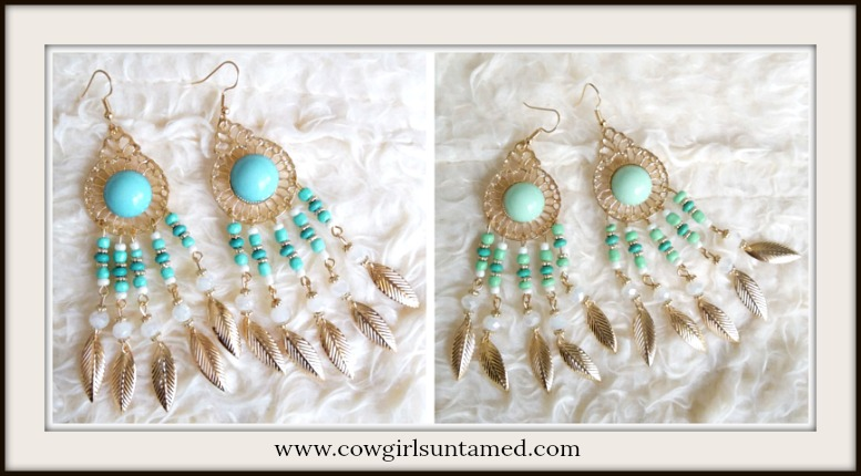 BOHEMIAN COWGIRL EARRINGS Golden Feather Charms Long Statement Boho Earrings