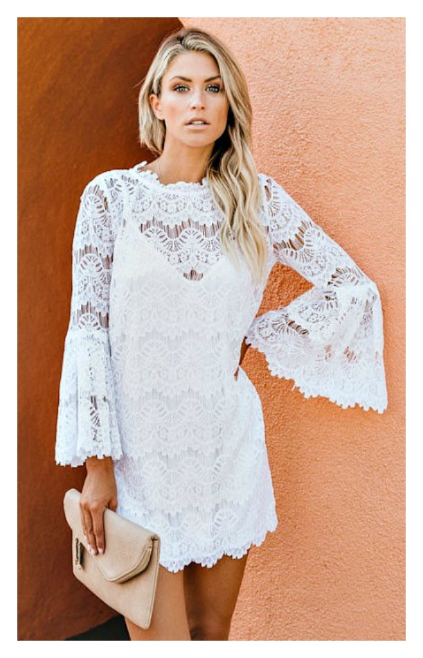 THE KIARA DRESS White Bell Sleeve Eyelash Lace Boho Mini Dress