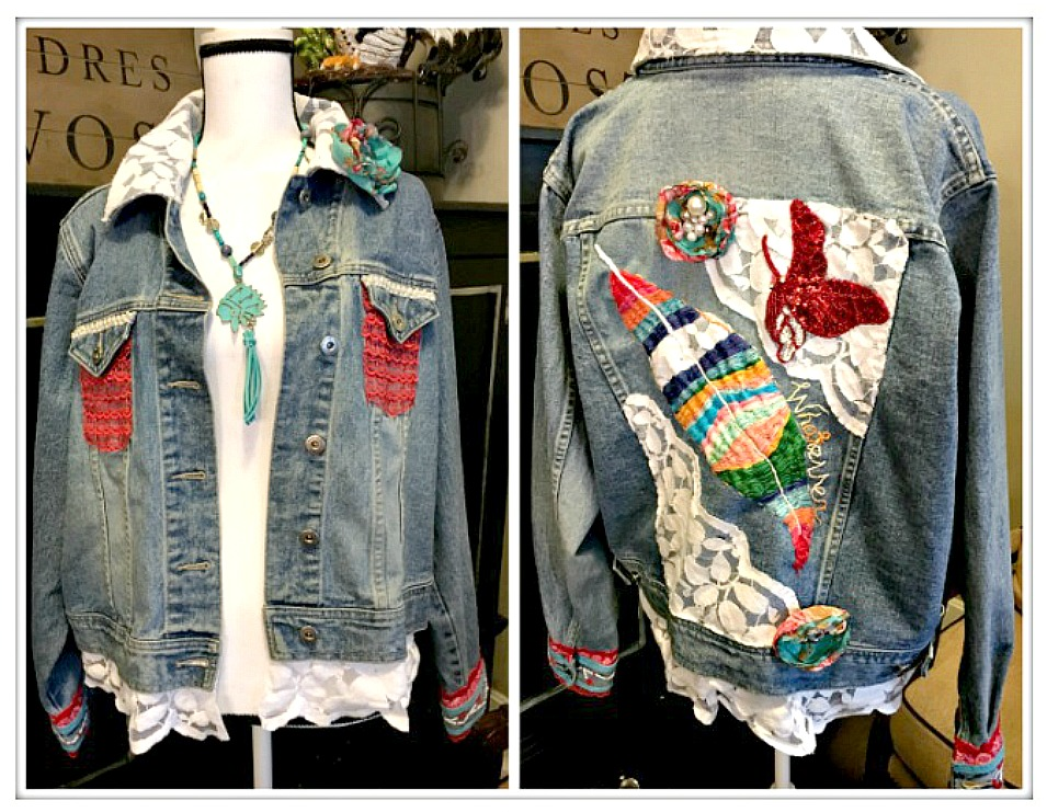 "BOHEMIAN COWGIRL JACKET Hand Embroidered ""Whatever"" & Large Feather Sequin Butterfly Handmade Floral Pearl Roses on Jean Jacket"