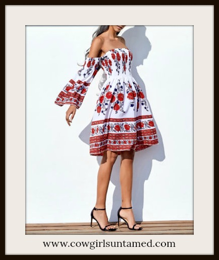BOHO CHIC DRESS Red Floral Off the Shoulder Bell Sleeve White Mini Dress