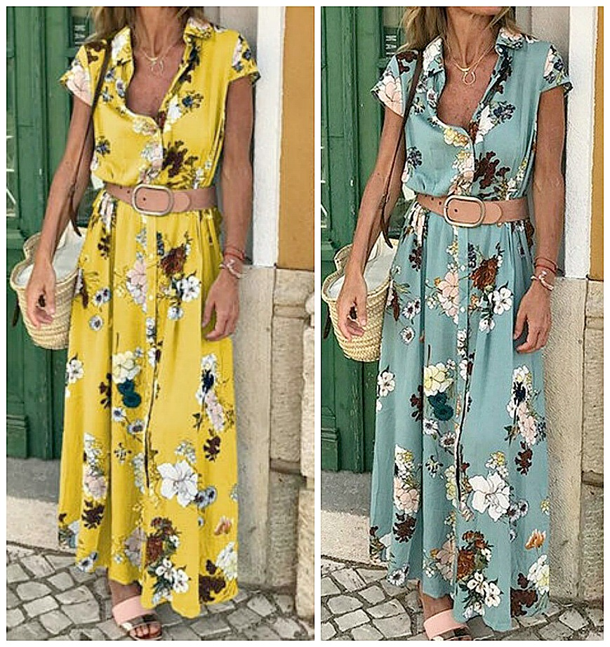 THE AMANDA DRESS Large Floral Pattern Button Front Belted A-Line Cap Sleeve Midi Dress S-2X  2 COLORS