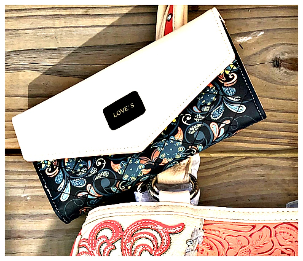 "THE LOVE WALLET Quilted Paisley Floral Cream & Black Boutique ""LOVE"" Wallet Clutch"