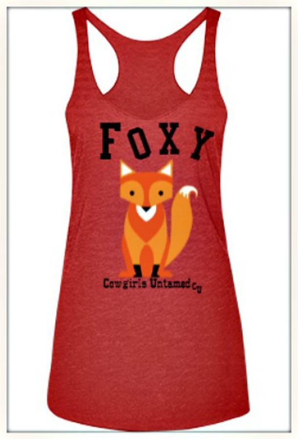 "FOXY TANK TOP ""Foxy"" & Brown Fox on Sleeveless Racerback Tank Top"