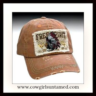 "COWGIRL STYLE CAP ""FREE SPIRIT"" Embroidered Indian Chief Distressed Baseball Cap"