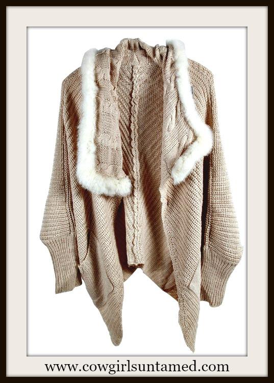 COWGIRL GYPSY SWEATER White Faux Fur Trim Beige Open Cardigan