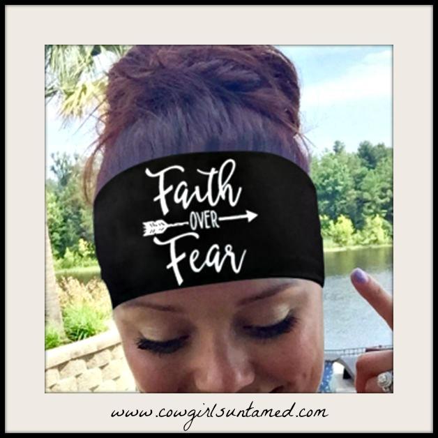 """COWGIRL STYLE HEADBAND White """"Faith Over Fear"""" Arrow on Black Stretchy Headband"""