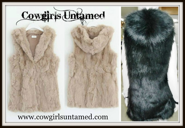 BOHO CHIC VEST Faux Fur Hooded Western Vest Sweater