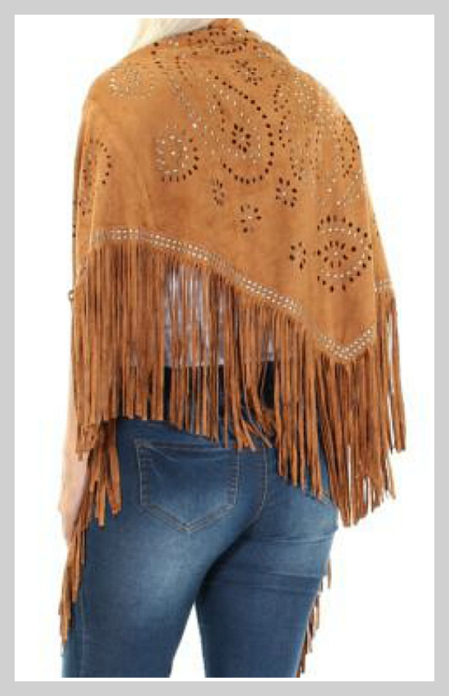 FAIRCHILD PONCHO Bronze Studded Laser Cutout Faux Suede Fringe Wrap Shawl Scarf LAST ONE!