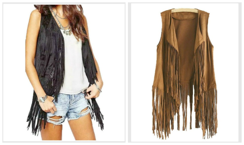ON the FRINGE VEST Sleeveless Fringe Boho Festival Vest