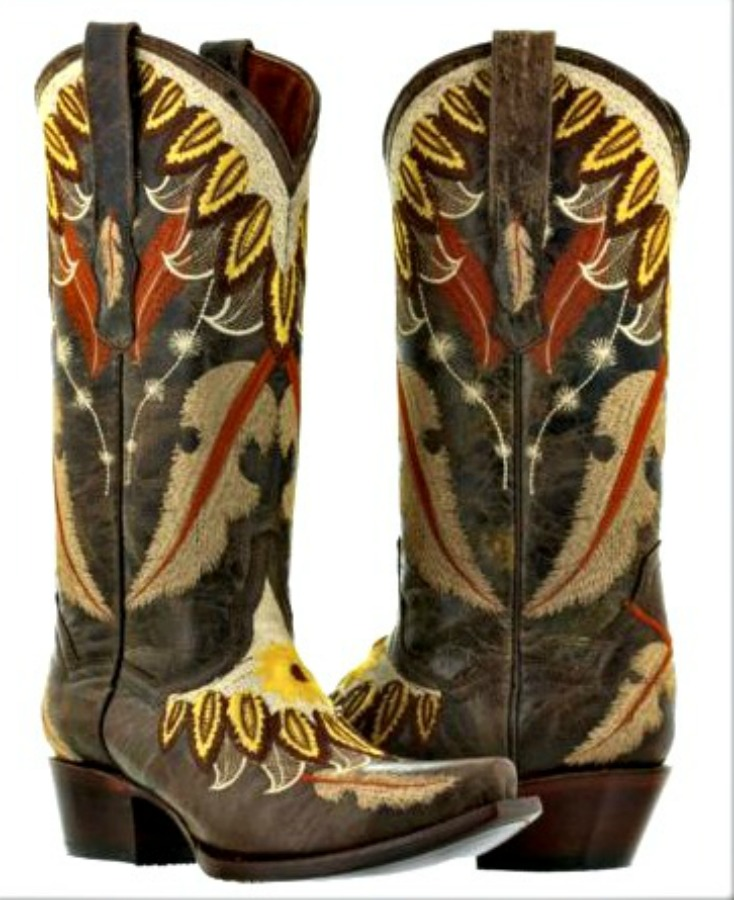 COWGIRL STYLE BOOTS Embroidered Feathers Flower on Brown Leather Cowgirl Boots