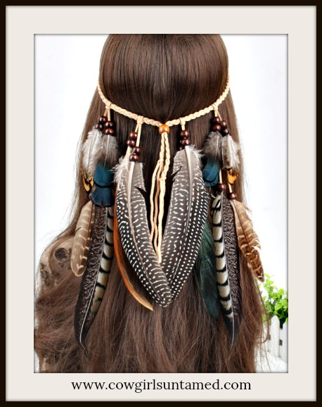 BOHEMIAN COWGIRL HEADBAND Beaded Feather Rope Leather Boho Headband