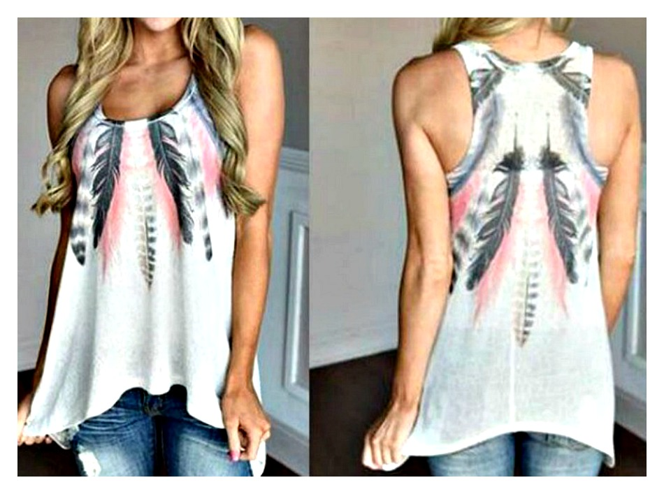 ALL the FEATHERS TOP Grey Feathers on White Hankerchief Hemline Tank Top PINK or GREEN
