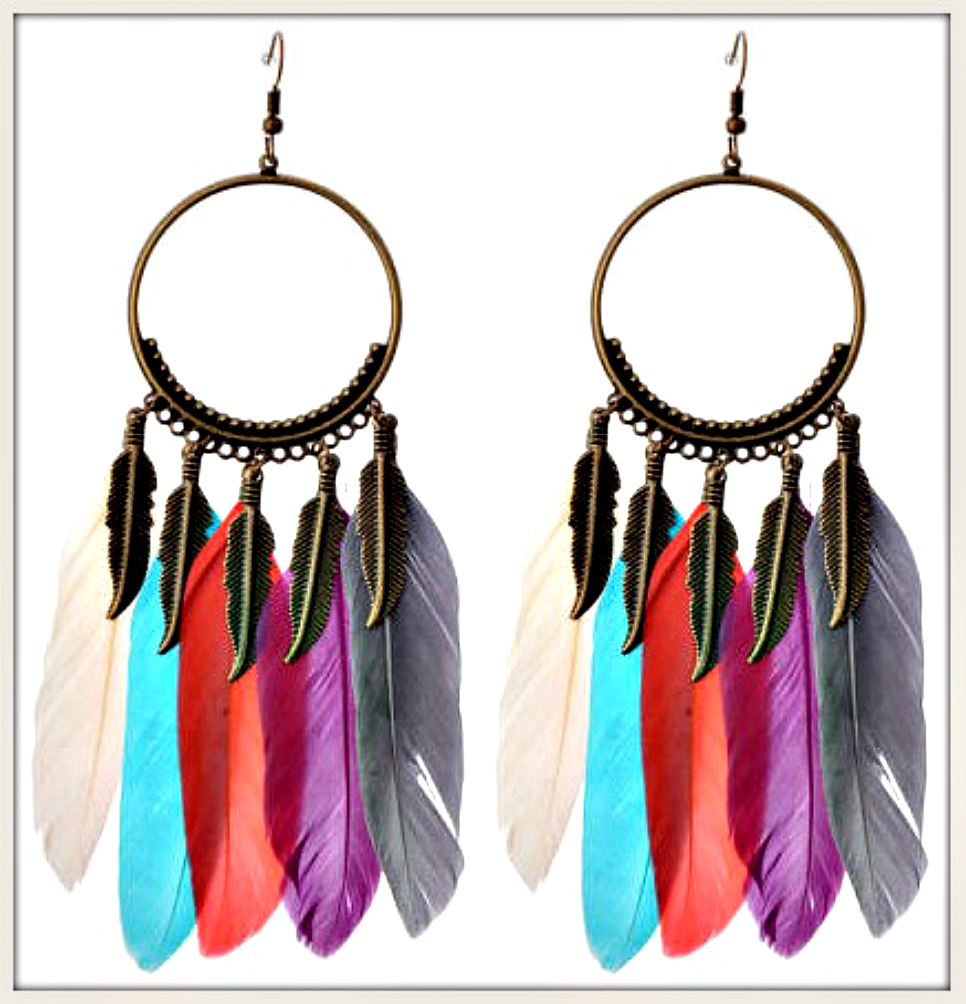 BOHEMIAN COWGIRL EARRINGS Multi Color Feather Antique Bronze Long Earrings